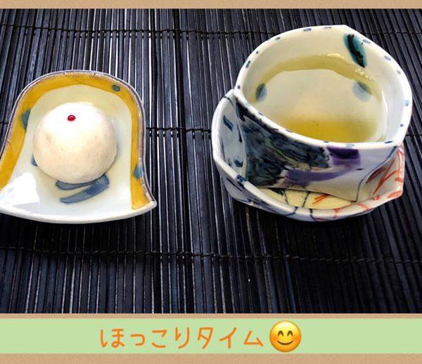風字皿にえくぼ饅頭😊
