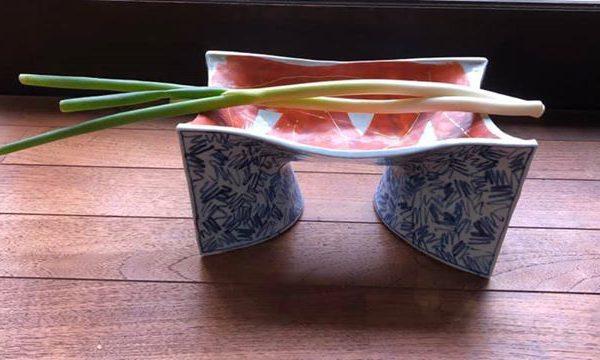 クバ紋撓み台鉢にネギ